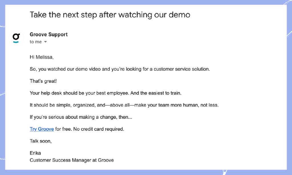 Customer success strategy 2: Email post demo