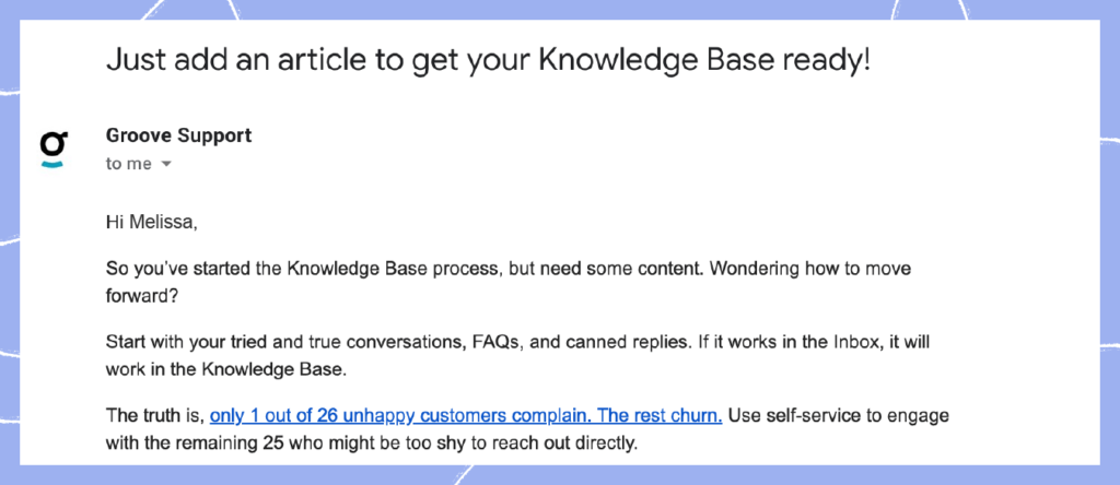 Customer success strategy 5: Email for new action taken
