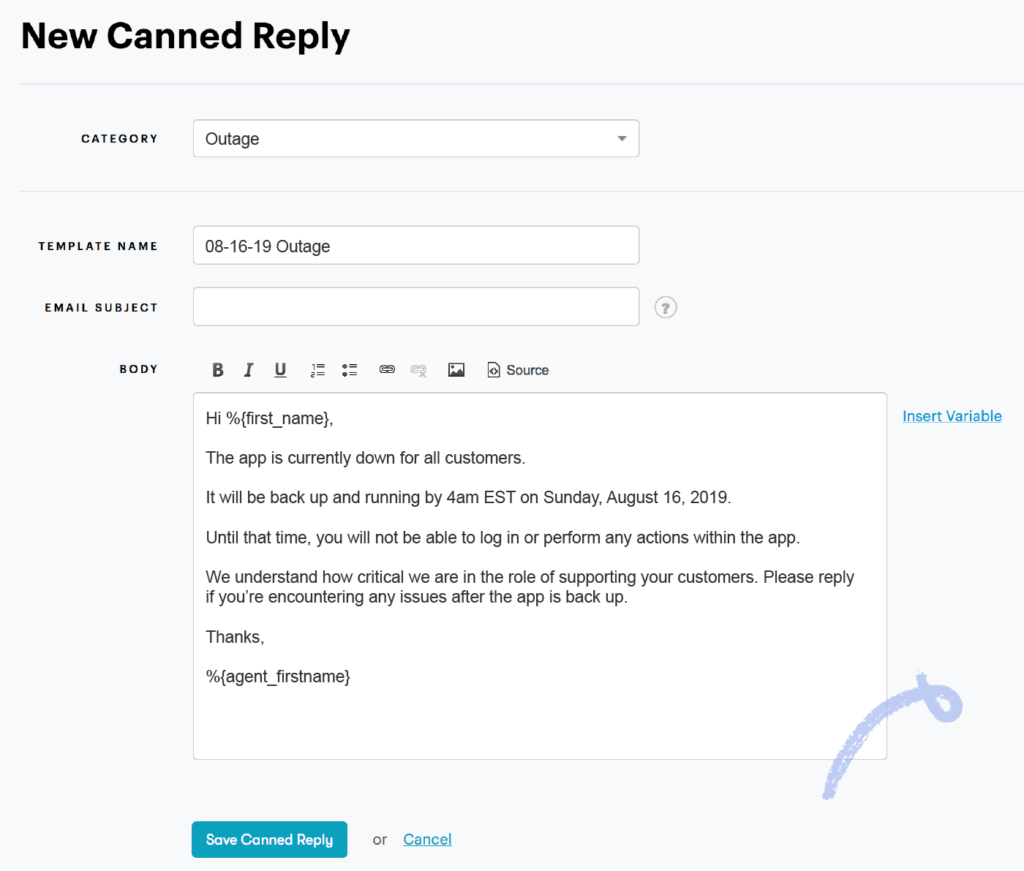 auto-reply for outage example
