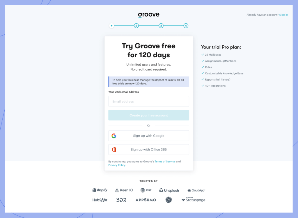 Groove sign up page