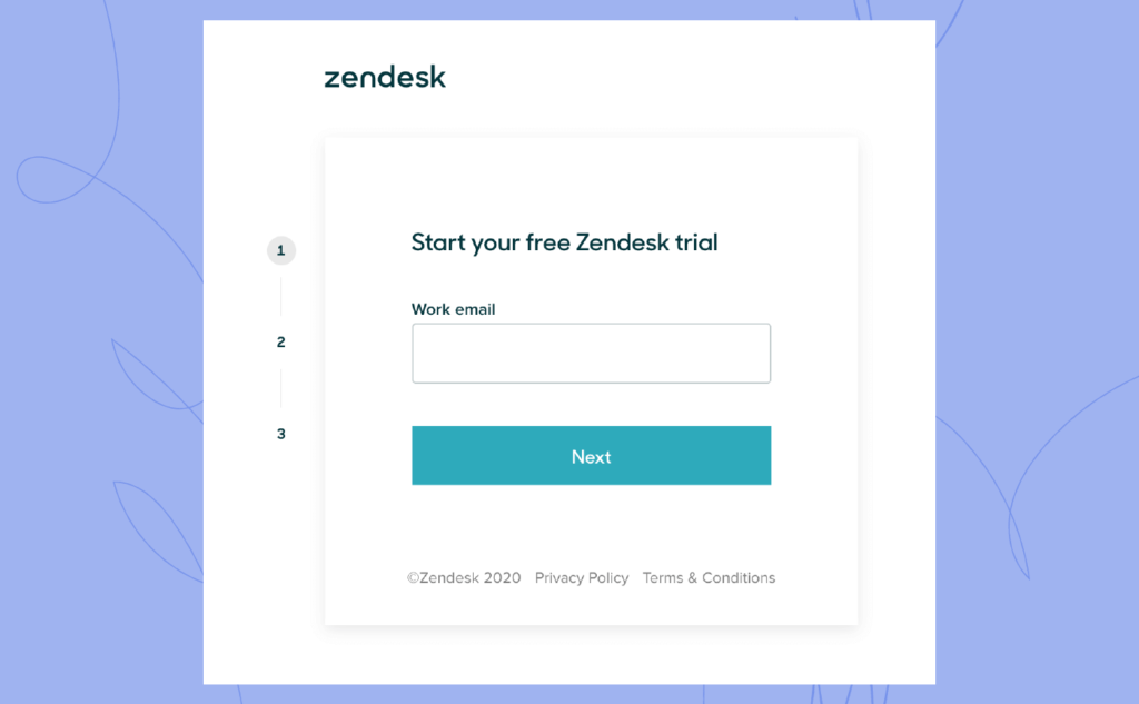 Zendesk sign up page