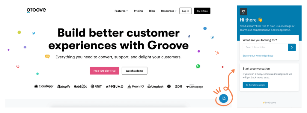 Top Customer Support Tools: Groove for support widget