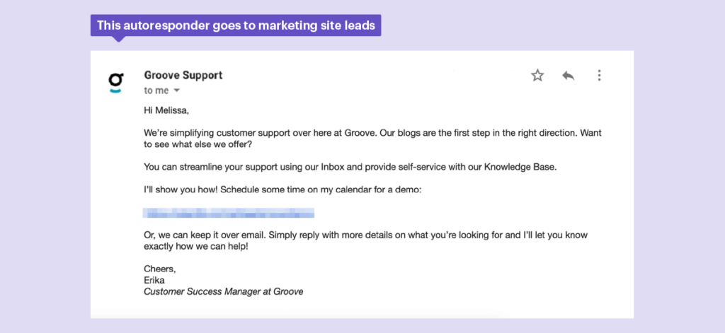 This autoresponder goes to marketing leads.