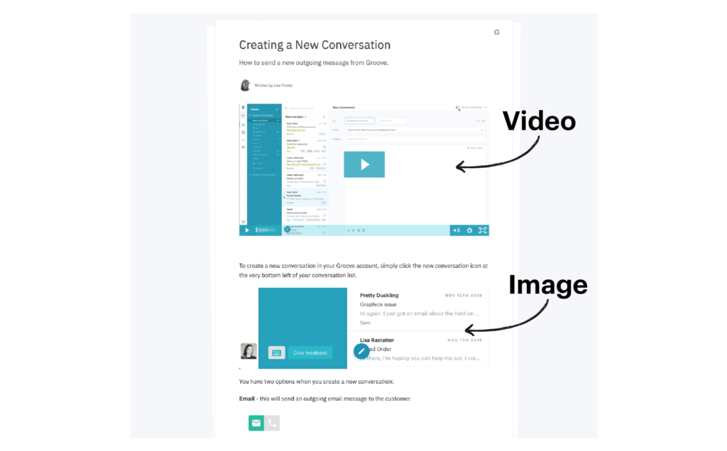 video and image in knowledge base article