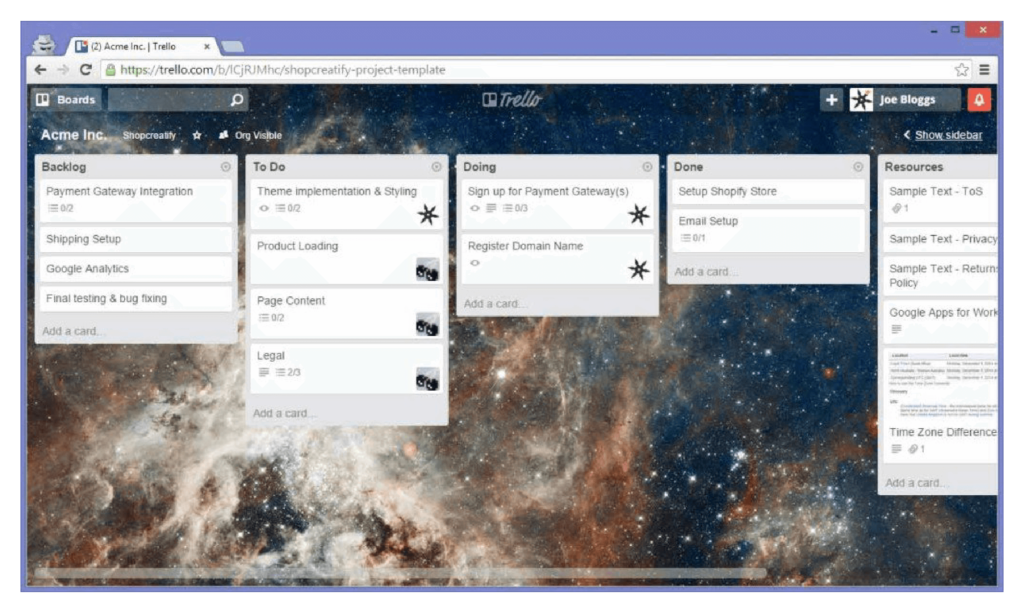 e-commerce trello board