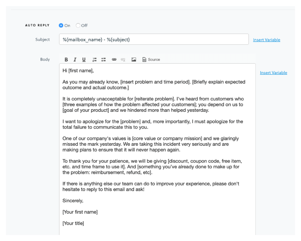 business apology email example for customer service autoreply