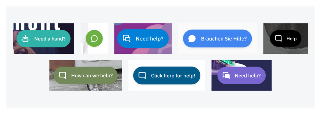 widget examples of a help button on different websites
