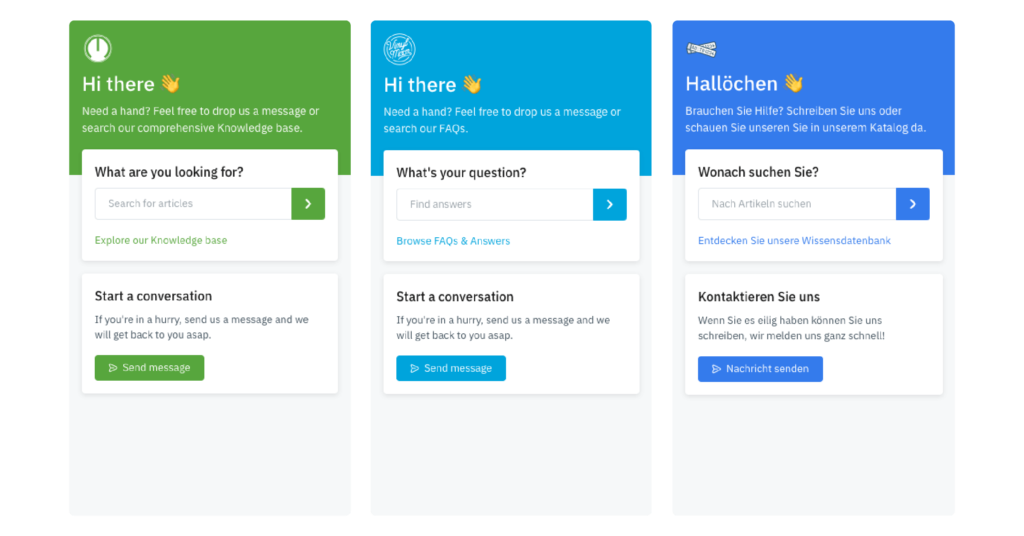 examples of customer support web widgets