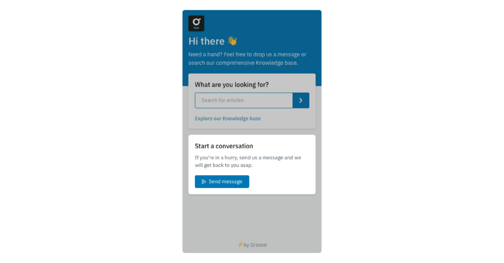 example of contact us button on a customer support web widget
