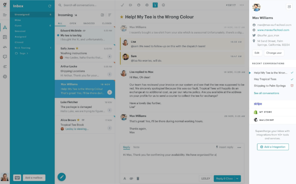 Using Groove's shared inbox to talk to customers