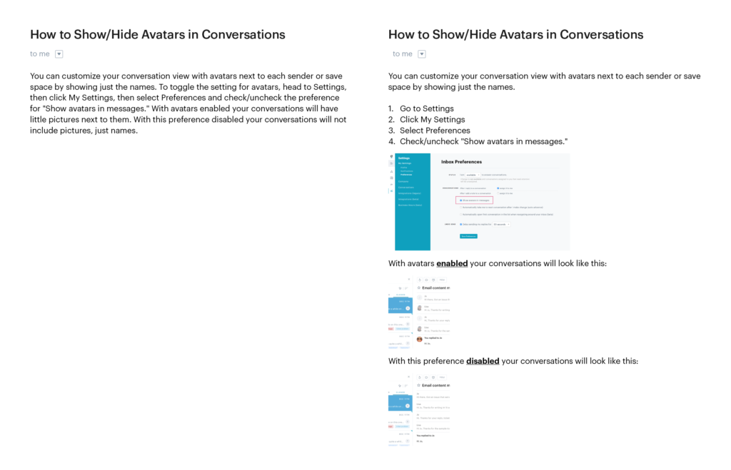 sample conversation with a customer side by side example of different formats