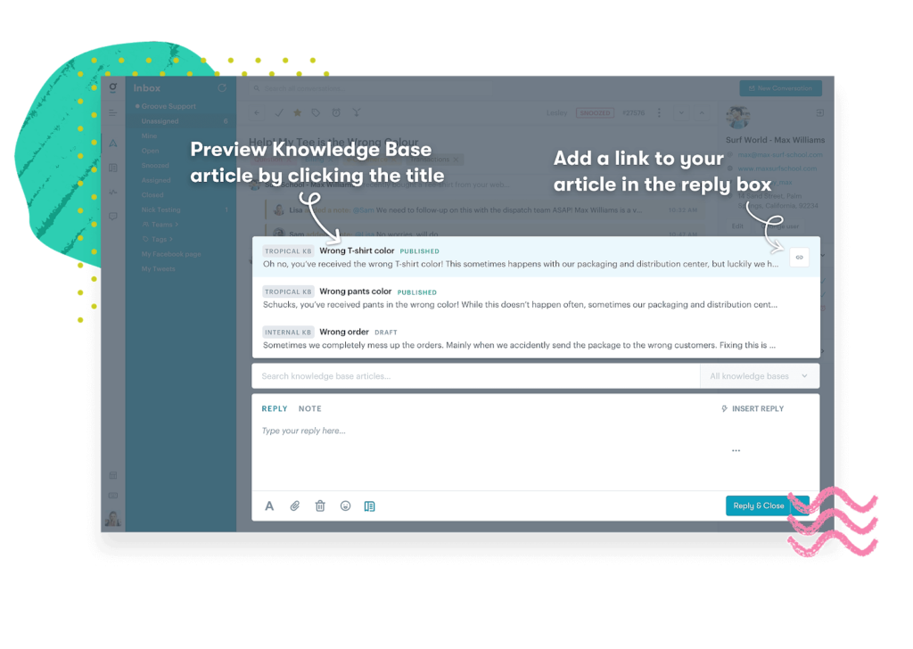 integrated knowledge base software is connected to your inbox.